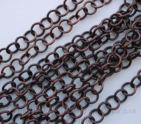 Винтажная цепь текстурная с круглым звеном 10 мм (оксид меди), 10 cм