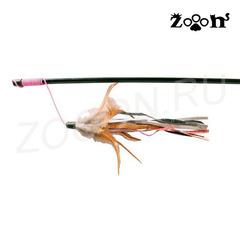 Trixie удочка на резинке с перьями и кожаными хвостиками 50 см