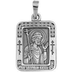 Святой Борис. Нательная икона посеребренная.