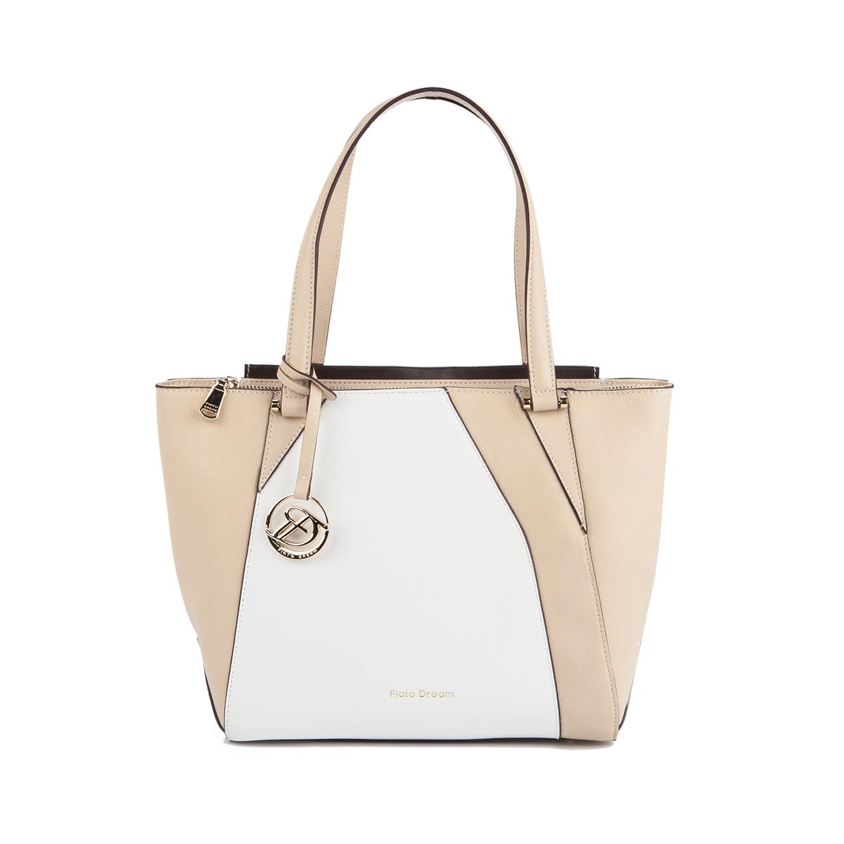 2022 FD кожа белый /бежевый/коричневый (сумка женская)