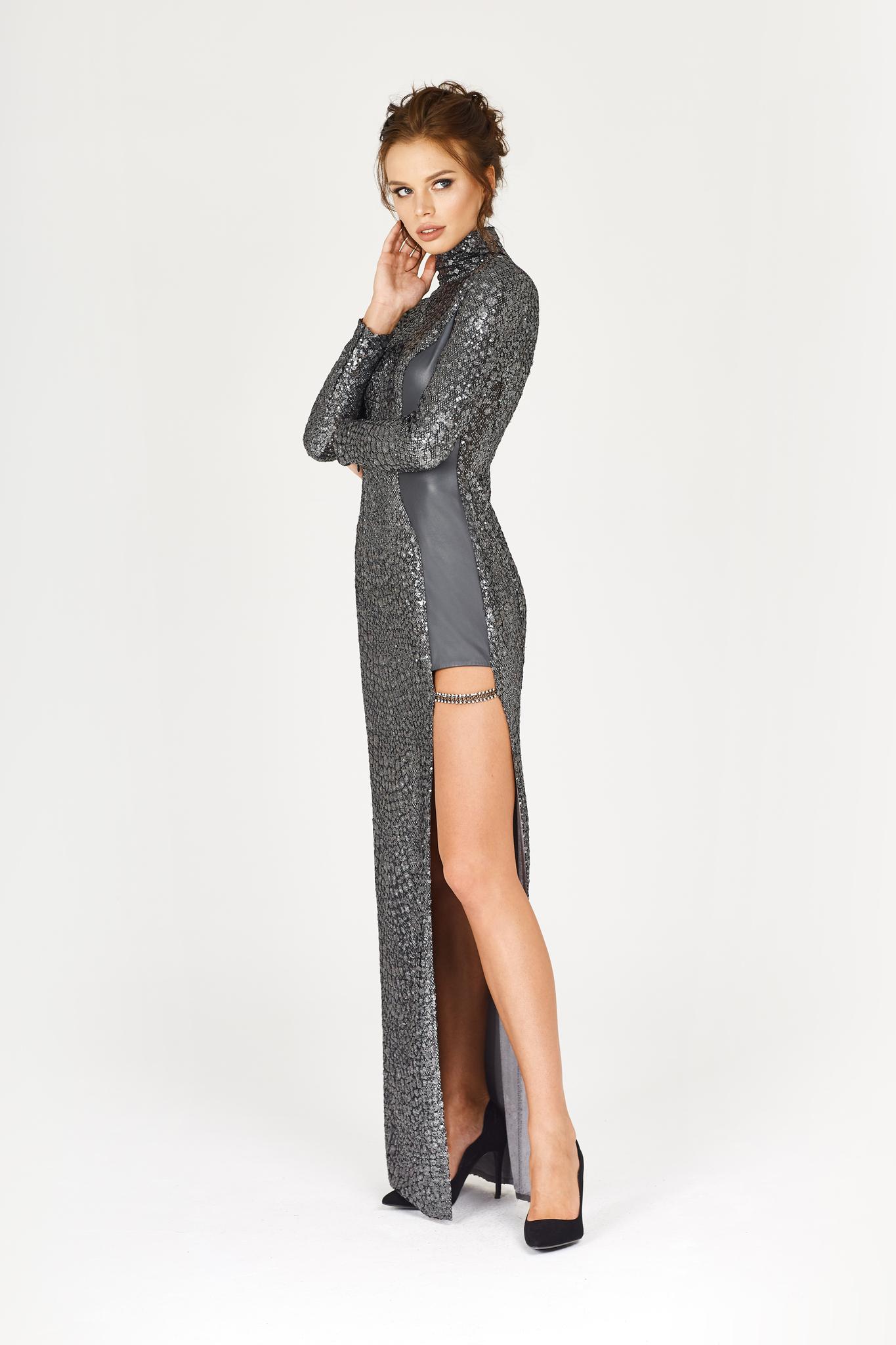 Платье с вставкой из телячьей кожи