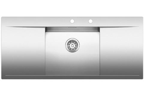 Кухонная мойка Blanco FLOW 5S-IF, клапан-автомат, нержавеющая сталь