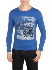 30198-2 футболка муж. с длинным рук. синяя