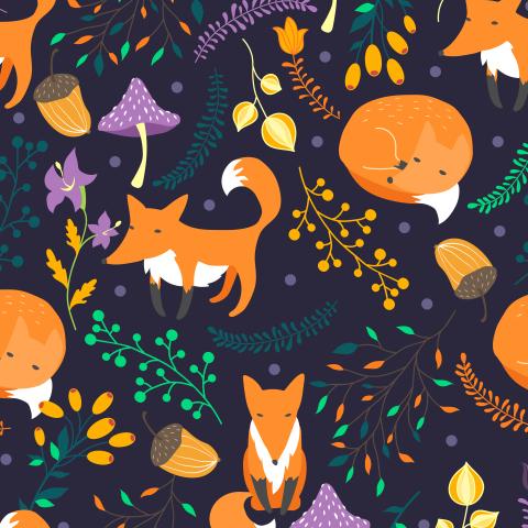 Лисы в лесу