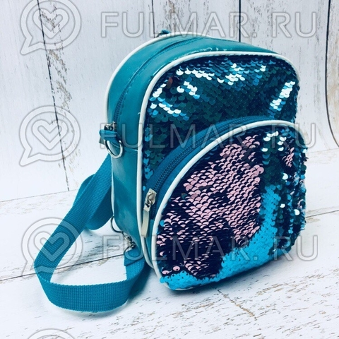 Рюкзак-сумка Трансформер с пайетками Хамелеон Бирюзовый