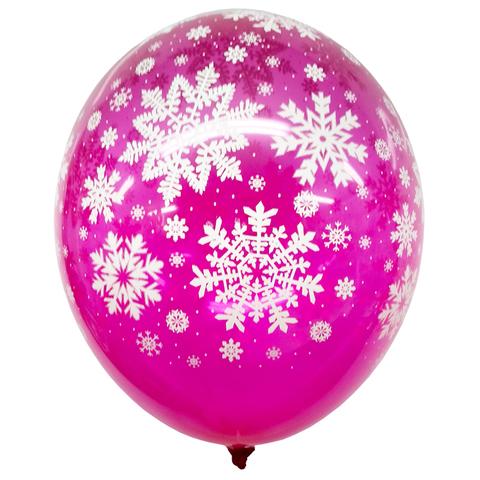 Шар Фуксия со Снежинками Кристалл