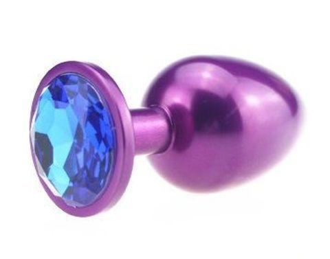 Фиолетовая анальная пробка с синим стразом - 7,6 см.