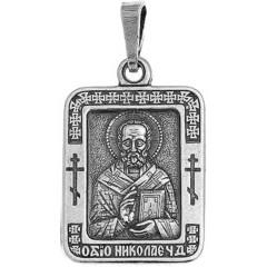 Святой Николай. Нательная икона посеребренная.