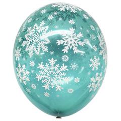 Шар Бирюзовый со Снежинками Кристалл