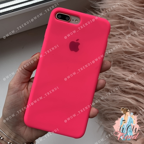 Чехол iPhone 7+/8+ Silicone Case /electric pink/ ярко-розовый 1:1