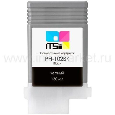 Совместимый картридж Canon PFI-102BK (Black Dye) 130 мл для Canon iPF500, iPF510, iPF600, iPF605, iPF610, iPF650, iPF655, iPF700, iPF710, iPF720, iPF750, iPF755, LP17