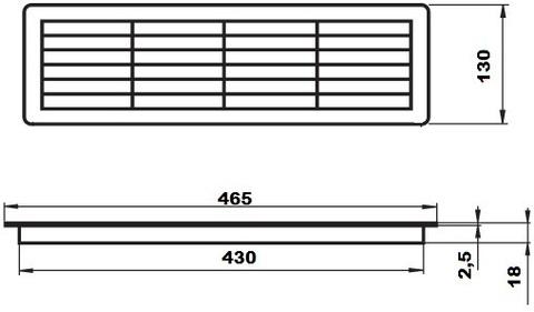 Решетка накладная 465х130 мм Vents МВ 450/2