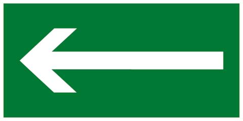 Эвакуационный знак - Направляющая стрелка влево
