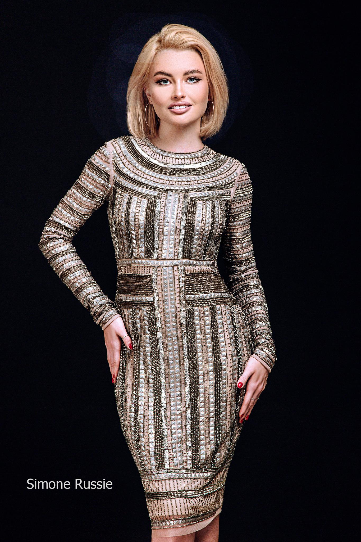 Simone Russie SR1948 Элегантное платье средней длины с рукавом