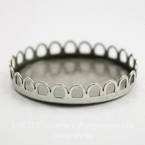 Сеттинг - основа для камеи или кабошона 35 мм (оксид серебра) ()