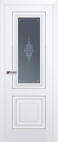Дверь Profil Doors №28 U, стекло кристалл графит, цвет аляска, остекленная