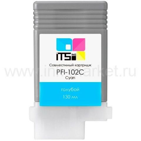 Совместимый картридж Canon PFI-102C (Cyan Dye) 130 мл для iPF500, iPF510, iPF600, iPF605, iPF610, iPF650, iPF655, iPF700, iPF710, iPF720, iPF750, iPF755, LP17