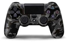 PS4 Чехол для геймпада DualShock 4 (камуфляж темно серый-черный перламутровый, накладки + наклейка)