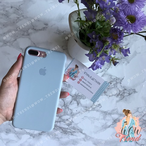 Чехол iPhone 7+/8+ Silicone Case /mist blue/ голубой дым original quality