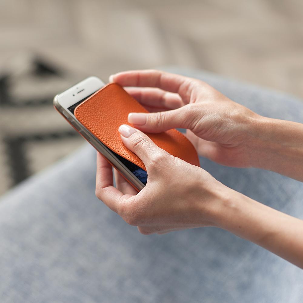 Чехол для iPhone 8 из натуральной кожи теленка, оранжевого цвета