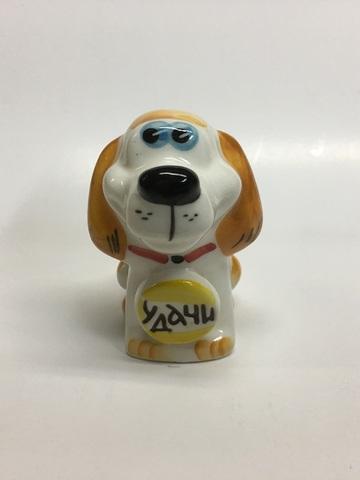 Собака с медалью пожеланием Удачи