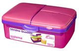 Ланч-бокс Sistema 4-х секционный с бутылкой, розовый 2л