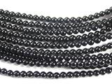 Нить Бисера из агата черного, шар гладкий 3мм