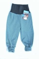 Штанишки Storchenkinder с манжетами, Белая/Голубая полоска