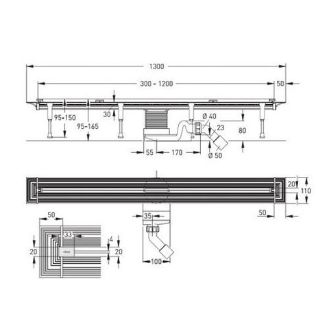 Душевой лоток Viega Advantix Vario Set (хром) 704360 схема