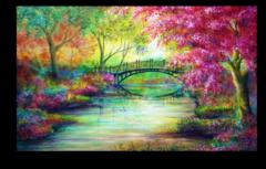 "Постер ""Мост в красочном лесу"""