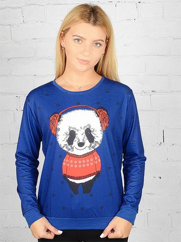 K039-4 футболка женская дл. рукав, синяя