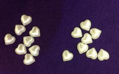 Половинки жемчужин Сердца крупные 15 мм, 20 шт.