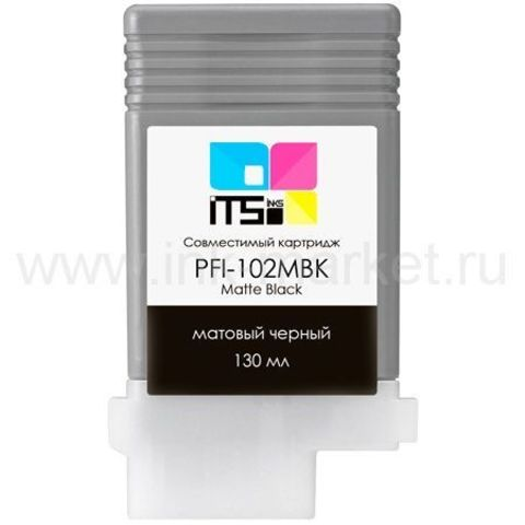 Совместимый картридж Canon PFI-102MBK (Matte Black Pigment) 130 мл для Canon iPF500, iPF510, iPF600, iPF605, iPF610, iPF650, iPF655, iPF700, iPF710, iPF720, iPF750, iPF755, LP17
