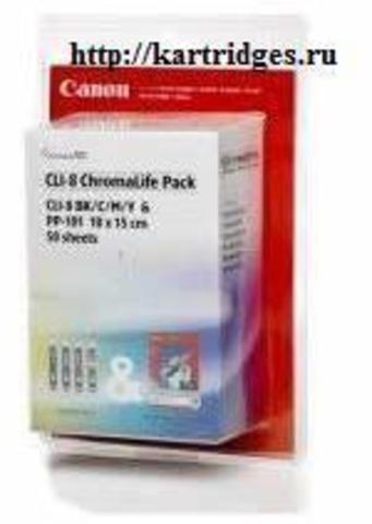 Картридж Canon CLI-8Bk / C / M / Y+PP-101
