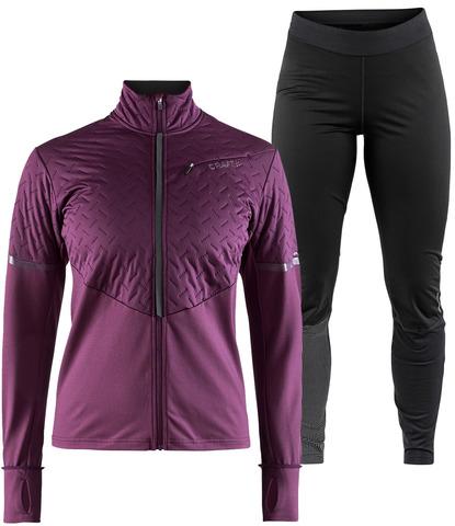 Элитный утепленный костюм для бега Craft Urban Fuseknit Violet-Black женский