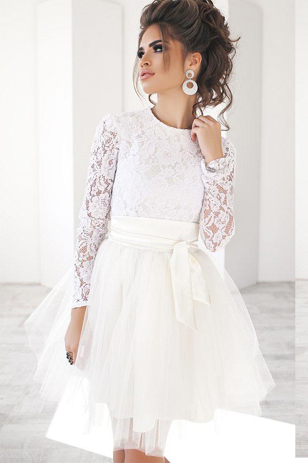 d9e889cc4c59c30 Короткое кружевное платье с пышной юбкой юбкой из фатина, белое ...