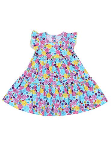 Basia Л921 Платье для девочки в цветочек бирюзовое