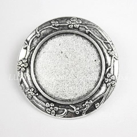 """Основа для броши с сеттингом для кабошона 20 мм """"Цветы"""", 30 мм (цвет - античное серебро)"""