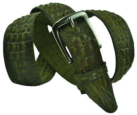 Мужской кожаный хаки (зелёный) ремень под крокодила 40SVAR-C-003