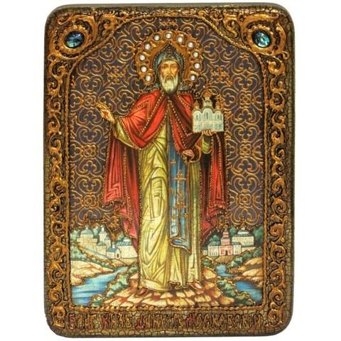 Инкрустированная икона Святой благоверный князь Даниил Московский 29х21см на натуральном дереве, в подарочной коробке