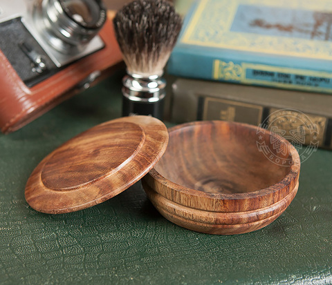 RAZ224 Красивая деревянная чаша для бритья с крышкой