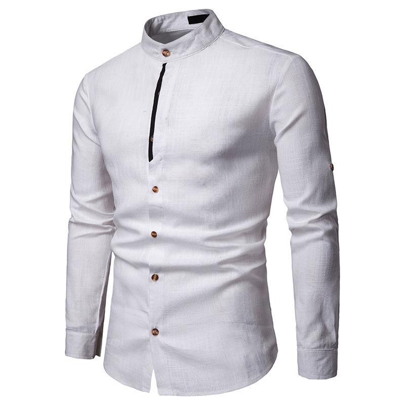 мужские рубашки Мужская льняная рубашка с длинным рукавом Slim Fit 10337045606_1074330809.jpg
