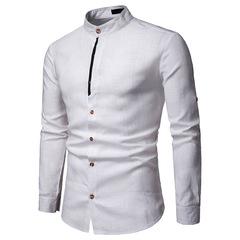 Мужская льняная рубашка с длинным рукавом Slim Fit
