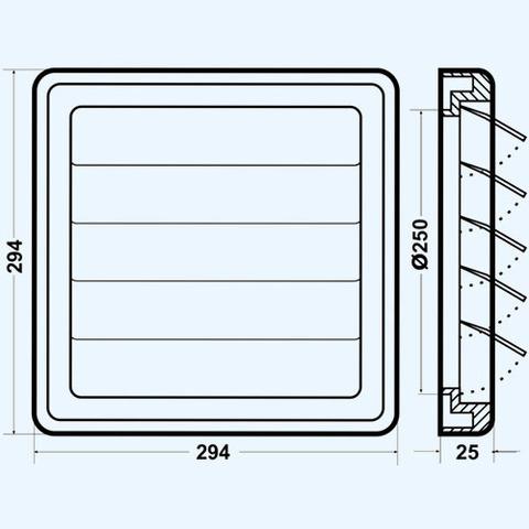 Решетка вытяжная с гравитационными жалюзи (294х294, D250) Эра 2929К25Ф Серая