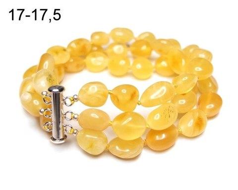 эффектный браслет 3 ряда из натурального янтаря
