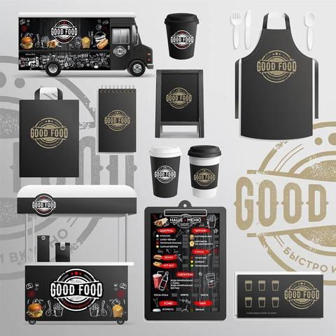 Логотип и фирменный стиль для кафе Good Food