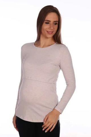 Мамаландия. Лонгслив для беременных и кормящих, меланж бежевый