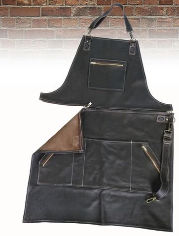 Мужской брутальный кожаный фартук с отстёгивающимся верхом BL17118 размер L