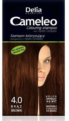 Delia Cosmetics Cameleo Оттеночный шампунь тон 4.0 коричневый (саше 40мл)