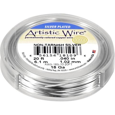 Проволока Artistic Wire 18 Ga (1.024 мм) Non-Tarnish Silver